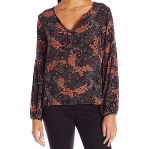 Sanctuary Printed Scarlett Parisian Peasant Top